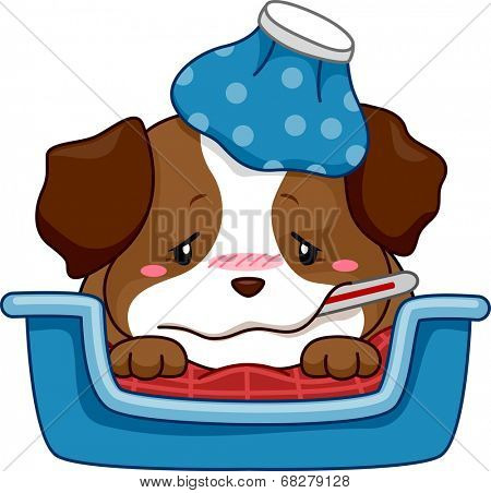 Illustration of a Puppy Sick with Fever