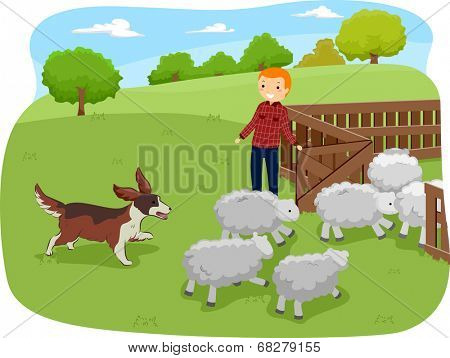 Illustration of a Shepherd Dog Herding Shop While Being Watched