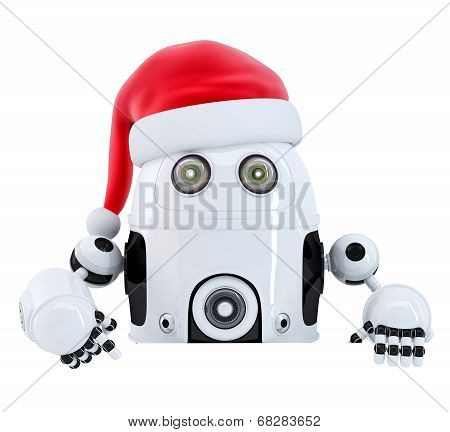Robot Santa pointing in blank advertisement banner. Isolated. Contains cliping path poster