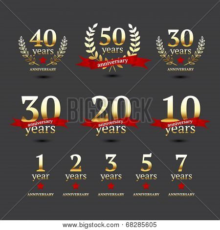 Vector set of anniversary golden signs