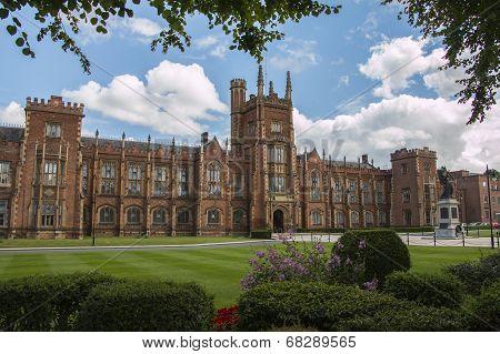 queens university in Belfast northern Ireland with clouds poster