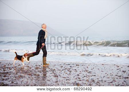 Senior Man Walking Along Winter Beach With Pet Dog