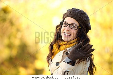 Autumn Fashion Woman Waving