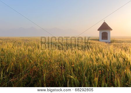 Mist On Wheat Field With Chapel In Slovakia Tatras