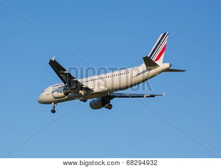 The plane of Air France airline comes on a strip before landing at the Sheremetyevo airport
