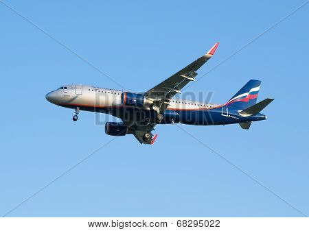 The airline Airbus A320 plane Aeroflot decreases before landing approach at the Sheremetyevo airport