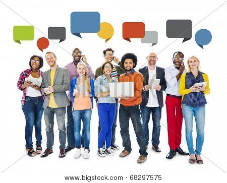 Diverse People Social Networking and Empty Speech Bubbles