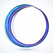 Blue shining abstract vector circle frame with shadow poster