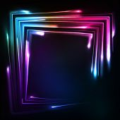 Shining rainbow neon lights vector squared frame poster