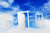 Open door and windows on fluffy clouds, blue sky. Concepts like new home, dream, hope, real estate.  poster