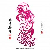 Vector Paper Cutting of Chang'e, The Chinese Goddess of Moon. Translation, Main: Chang'e Galloped To The Moon, Second: Happy Mid Autumn Festival, Stamps: Blessed Feast poster