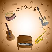 Card with musical instruments with opportunity to write the text (the invitation a congratulation the announcement) on a brown background poster