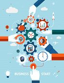 Conceptual vector illustration of a business and entrepreneurship business start or launch with gears and cogs with various icons for industry and business held by hands  one pushing the start button poster