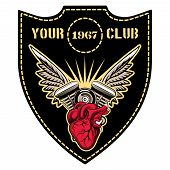 motor club emblem with winged engine vector template poster