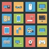 Computers peripherals and network devices flat icons set design vector graphic illustration poster