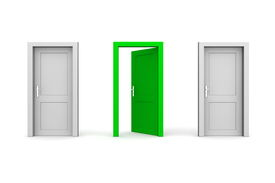 Three Doors - Grey And Green - Two Closed, One Open
