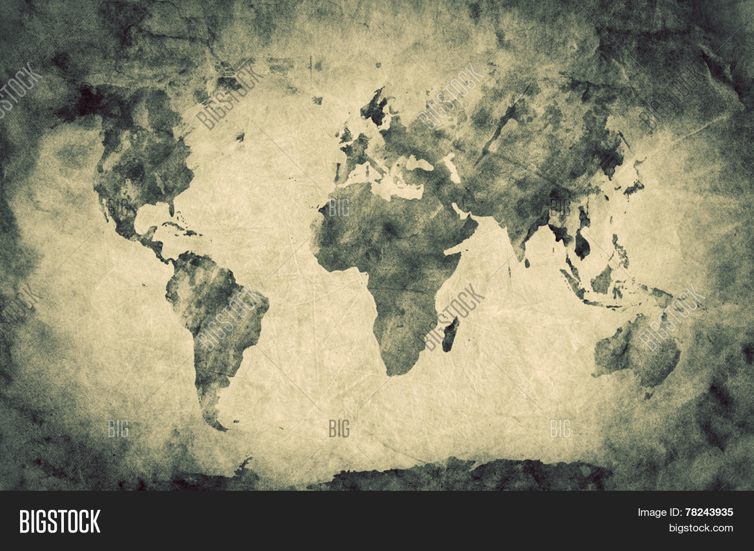 Ancient old world map image photo free trial bigstock ancient old world map pencil sketch grunge vintage background texture sepia gumiabroncs Gallery
