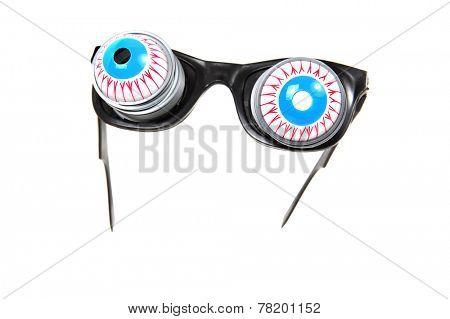 Joke bloodshot eyeball glasses with springs