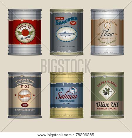 Food cans set
