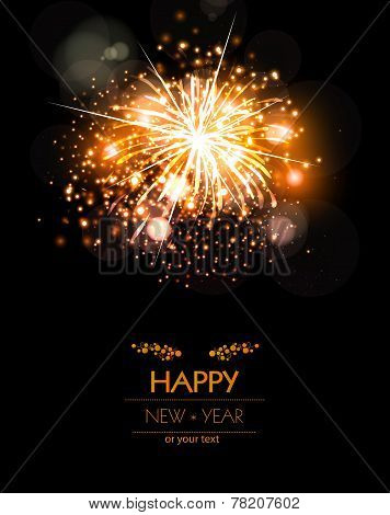 Happy New Year Fireworks Background Concept, Easy Editable