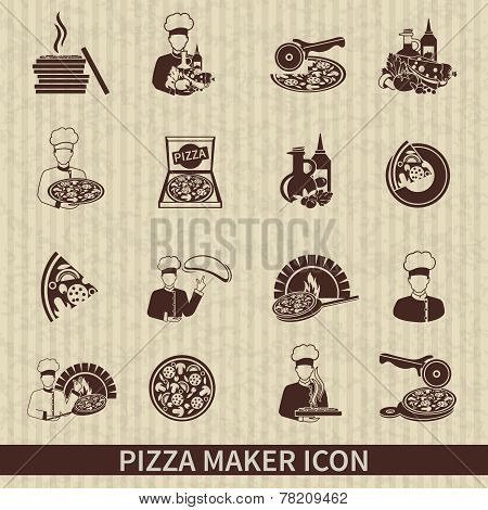 Pizza Maker Icon Black