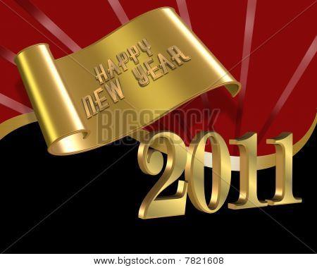 Neujahr 2011 rot Gold schwarz Hintergrund