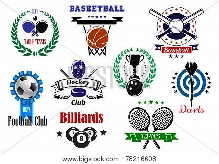Competitive sport emblems set