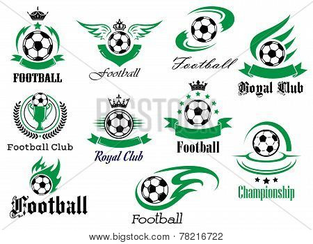 Football emblems and logo isolated on white set