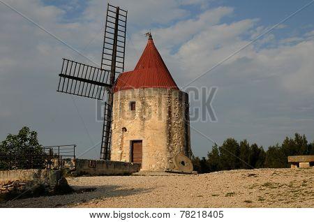 France historical windmill of Alphonse Daudet in Font vieille poster