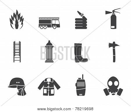 Silhouette fire-brigade and fireman equipment icon