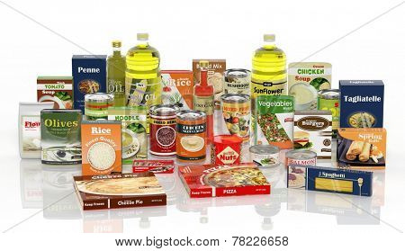 3D collection of packaged food isolated on white background