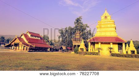 Old Thai Buddhist Temple And Pagoda