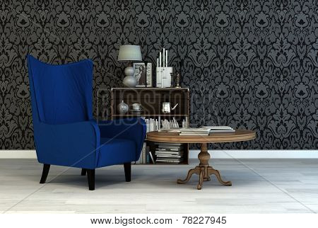 Single vintage blue armchair in a classic living room interior with arabesque wallpaper a small table and bookcase with books and ornaments. 3D Rendering.