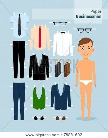 Paper businessman. Suit , shirt, glasses and briefcase