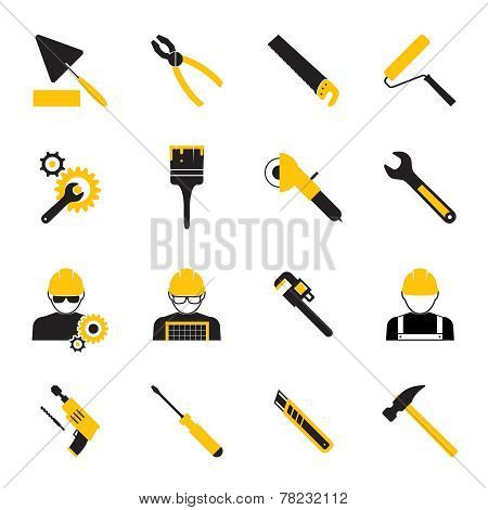 Construction Workers and Tools Icons