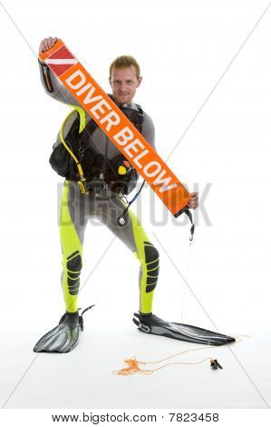Diver With Safety Sausage