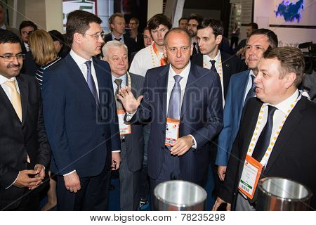 MOSCOW, RUSSIA, JUNE, 16: M. S. Al-Sada, President of the WPC R. Bertani, Russian Energy Minister Alexander Novak,  D. Pumpyanskiy . 21st WPC, June, 16, 2014 at Crocus Expo  in Moscow, Russia