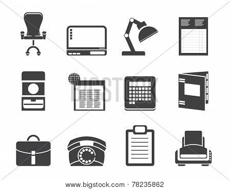 Silhouette Simple Business, office and firm icons - vector icon set poster