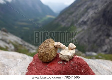 The pile of stones is a sign of conquest the mountain.