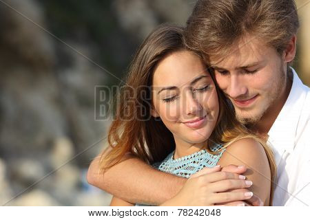 Couple In Love Hugging And Feeling The Romance