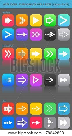 Apps navigation icons set with arrows for UI.