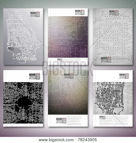Microchip backgrounds, electronic circuits. Brochure, flyer or report for business, templates vector