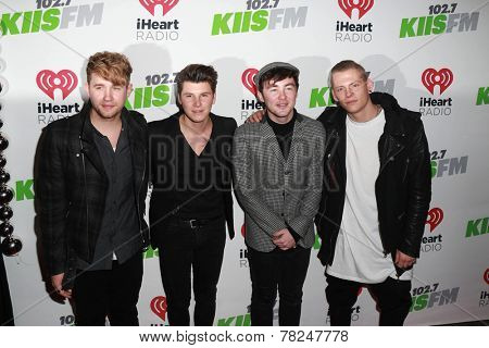 LOS ANGELES - DEC 5:  Danny Wilkin, Charley Bagnall, Jake Roche, Lewi Morgan, Rixton at the KIIS FM's Jingle Ball 2014 at the Staples Center on December 5, 2014 in Los Angeles, CA