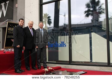 LOS ANGELES - DEC 11:  Jimmy Kimmel, Don Mischer, Leron Gubler at the Don Mischer Star on the Hollywood Walk of Fame at the Hollywood Boulevard on December 11, 2014 in Los Angeles, CA