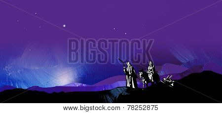 Graphic Background of Holy Christmas Travelers and mountains
