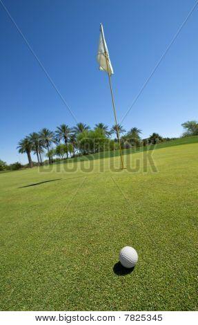 Golf Ball Ongreen With Flag