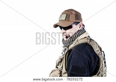 Studio shot of private military contractor PMC smoking a cigar poster