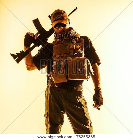 Private military contractor PMC with assault rifle poster