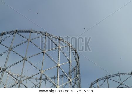 view of ancient gasometer, in ostiense (romw, Italy), near tiber river poster