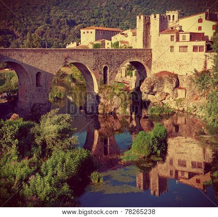Medieval town with bridge. Besalu,  Spain